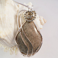 Wire Wrapped Pendant Flower Fossil Coral