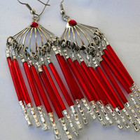 Ornate Steel and Red Glass Chandelier by GiltyGirlVintage on Etsy