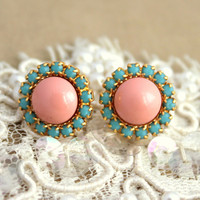 Pink turquoise stud earring - 14k plated gold post earrings real swarovski pearls .