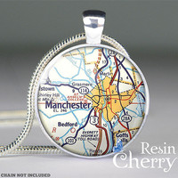 Manchester map pendant,glass pendant,necklace pendant,pendant charm,New Hampshire- M0500CP