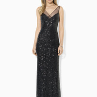 Sleeveless Sequined Mesh Gown