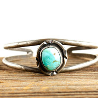 Vintage Sterling Silver Faux Turquoise Cuff Bracelet - Native American South Western Jewelry / Tribal Teal