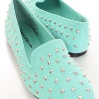 Mint Canvas Fabric Spike Studded Loafer Flats @ Amiclubwear Flats Shoes online store:Women&#x27;s Casual Flats,Sexy Flats,Black Flats,White Flats,Women&#x27;s Casual Shoes,Summer Shoes,Discount Flats,Cheap Flats,Spring Shoes,Cute Flats Shoes,Women&#x27;s Flats Shoes,Sne