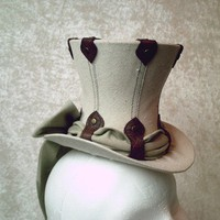 Mini Top Hat Canvas and Leather Steampunk by GypsyLadyHats on Etsy
