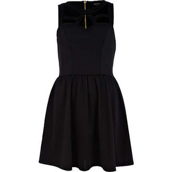 Black cut out sleeveless skater dress