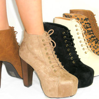 SO HOT! Lace Up Lita Booties *Platform Ankle Boots*Super Comfy Stacked Heel