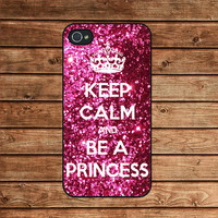 Sparkle Painting,Keep Calm and be a princess--iphone 4 case,iphone 4s case,iphone 4 cover,in plastic or silicone case