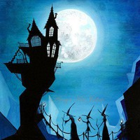 Witch Sisters and a Blue Moon 85 x 11 Painting Print by annya127