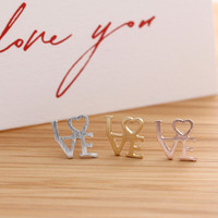LVE stud earrings, 3 colors | girlsluv.it