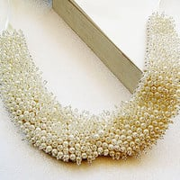 Ivory Pearl embroidery Peter Pan Collar Necklace-pearl rhinestone embroidered collar necklace (1940s-1950s)-Col Claudine