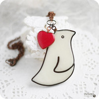 Romantic necklace White bird with red heart by Dariami on Etsy