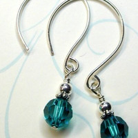 Ocean Blue Crystal Sterling Earrings by designsbykini on Etsy