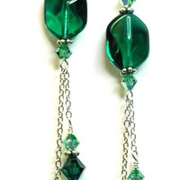 Swarovski Crystal Emerald Sterling Silver by designsbykini on Etsy