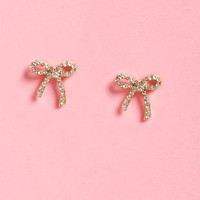 Wrap It Up Gold Rhinestone Bow Earrings