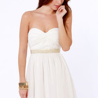 Swanky Doodle Dandy Beaded White Dress