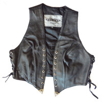 Vintage Leather Biker Vest w/ Spikes & Skulls