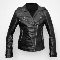 Women leather biker jacket by Ruby Leather
