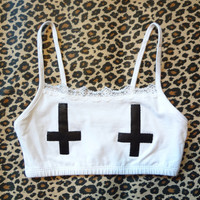 Inverted Cross Bra Top // White w/ Black Leather