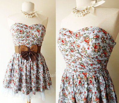 NEW Light Blue Vintage Inspired Floral Print Mesh Skirt Strapless Mini Sun Dress