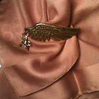 Bronze Antique Angel Wing Brooch Pin