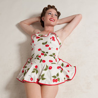 Vintage 1950s Cherry Swimsuit Pin Up Maillot One Piece Winter Getaway