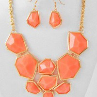 Sassy Chunky Neon Orange Mosaic Gold Chain Necklace Earrings Set Fashion Jewelry