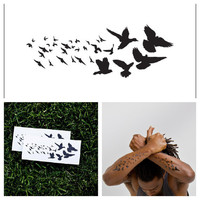 Black Birds - temporary tattoo (Set of 2)