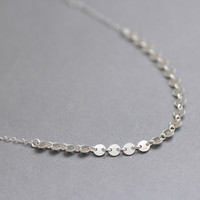 Modern sparkle - linked sterling silver sequins necklace by AmiesAmies