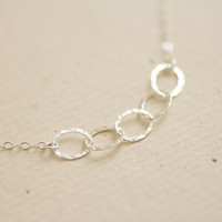 Hammered sterling silver ovals chain necklace - simple delicate jewelry by AmiesAmies