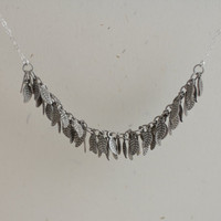Grecian - antique silver cascading leaves necklace - sterling silver jewelry by AmiesAmies