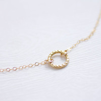 Gold hammered circle ring necklace - dainty gold filled jewelry by AmiesAmies