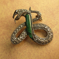 Antique art deco Snake Brooch marcasite serpent by vintagesparkles