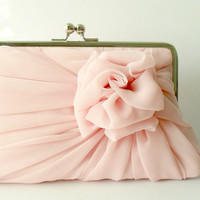 Dusty Pink Rose Clutch  Size Large  MADE TO by HeidiCreations