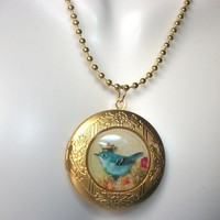 Blue Bird With Crown Locket