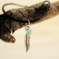 Be Free  Feather Bracelet with Genuine by ThePrettyDoGood on Etsy