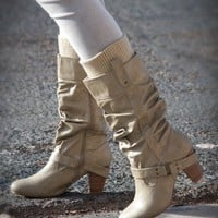 Qupid Parson-03 Sweater Trim Knee High Boot (Stone) - Shoes 4 U Las Vegas