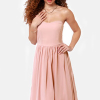 Someday Sweetheart Strapless Blush Pink Midi Dress