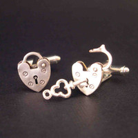 Mini Opening Closing Vintage Padlock Cufflinks - Unlock My Heart