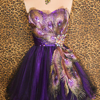 PURPLE PEACOCK PROM COCKTAIL EVENING BRIDESMAID PAGEANT SHORT GOWN DRESS XS 2/4