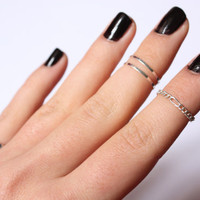 Supreme Yummy Silver Combo - set of 4 stack silver midi rings