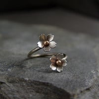 Cherry Blossom Adjustable Branch Ring Sakura Twig and by HapaGirls