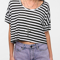 Urban Outfitters - Sparkle &amp; Fade Striped Twist Neck Cropped Tee