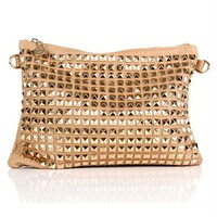 Beige Pyramid Studded Cross Body Bag