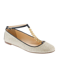 Glitter T-strap ballet flats - ballet flats - Women&#x27;s shoes - J.Crew