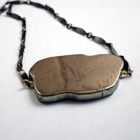 Pyrite Necklace - Pyrite Slab Statement Necklace