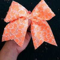 Orange Lace Cheer Bow