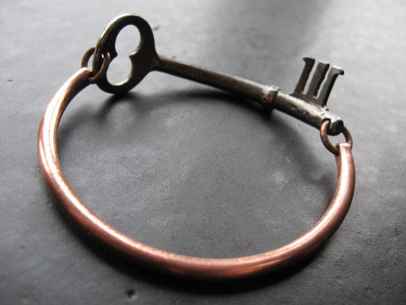 $56.00 Finders Keepers No49  Skeleton Key Bangle by savagesalvage