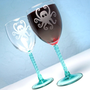 $42.00 2 Octopus Etched Wine Glasses  Teal Spiral Stems by BreadandBadger