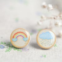 $15.45 Delicate little earrings  rainbow cloud rain  by SecretFind