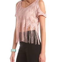 Cold Shoulder Lace Fringe Top: Charlotte Russe
